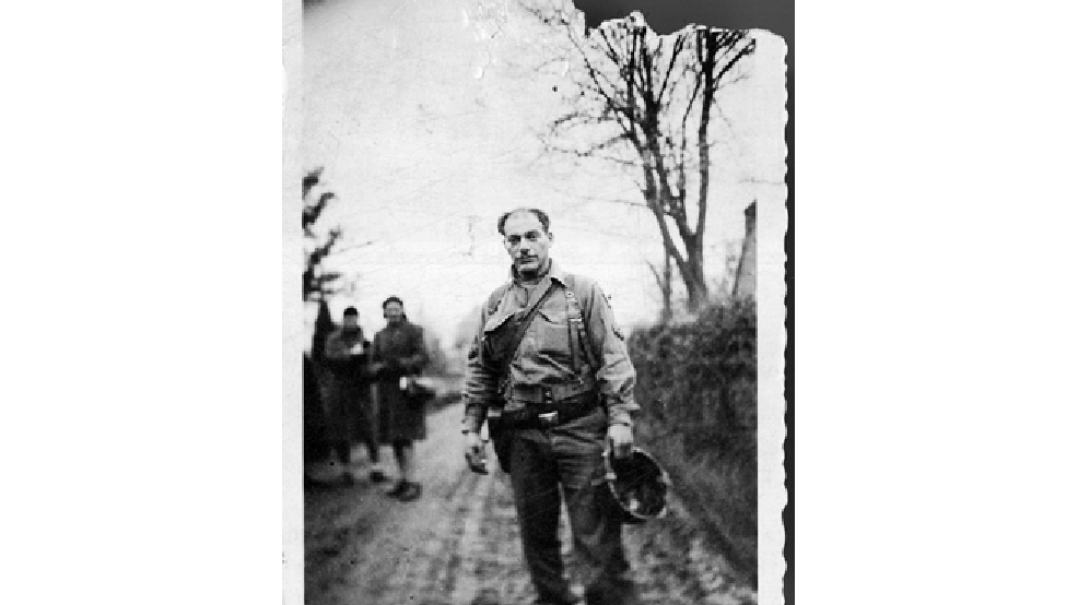 This 1944 photo provided by Beth J. Harpaz, shows her father, David Jackendoff, while serving with the 101st Airborne Division in Europe. Jackendoff parachuted into Normandy with the 101st Airborne on D-Day, June 6, 1944, and later fought in Holland and Belgium. Though he died in 1993, wartime radio interviews with him and a TV interview of the 40th anniversary of D-Day preserved his stories. (AP Photo/Courtesy of Beth J. Harpaz)