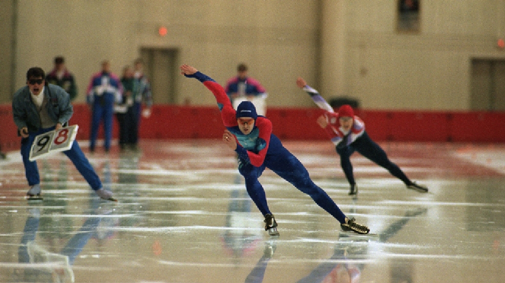 Dan Jansen of Greenfield, Wis., left, leads David Cruikshank of Milwaukee in the 500 meters at the U.S. Olympic speedskating trials on Friday, Jan. 7, 1994 at the Pettit National Ice Center in Milwaukee. Jansen won the event in 36.44 while Cruikshank finished second. (AP Photo/Robert Borea)