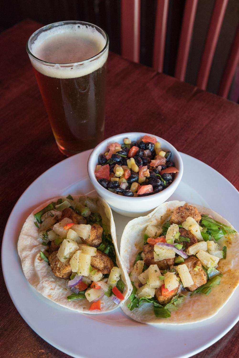 Mahi Mahi Tacos: pan seared Mahi Mahi, chipotle mayo, and pineapple salsa / Image: Phil Armstrong, Cincinnati Refined