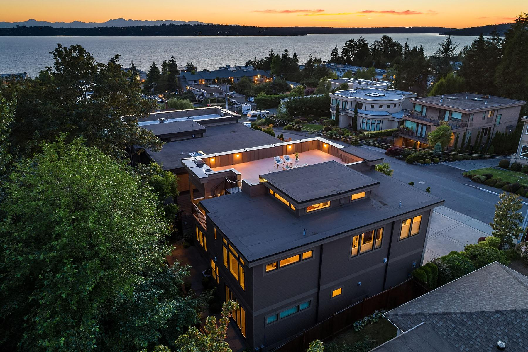 Walking distance to Kirkland's restaurants, shopping and waterfront - this 4 bed/2.75 bath is selling by Windermere's Max Rombakh for $2,299,000. Home's features include a wine cellar, rooftop deck, and probably most notably, the home backs into a lush greenbelt - rare to find in the Houghton neighborhood. MLS #1357060 for more info. (Image: Matthew Gallant, NW Clarity / Windermere)