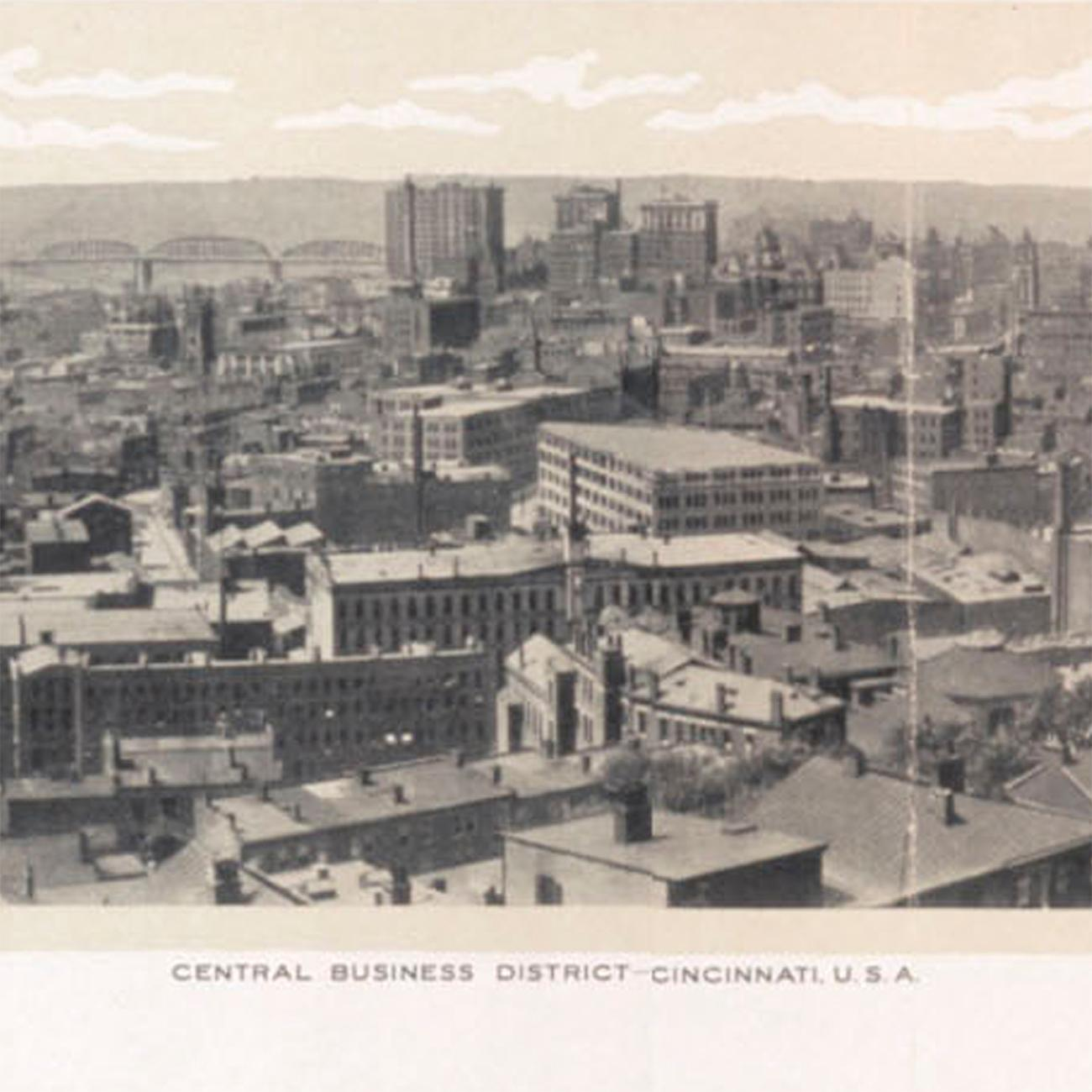 Closeup detail of a panoramic photo of Cincinnati looking west from Mt. Adams by Albert Otto Kraemer from 1914. View the whole image by going to the Public Library downtown and seeing the Panorama of Progress exhibit. The exhibit runs until October 31. ADDRESS: 800 Vine Street (45202) / Image courtesy of the Public Library of Cincinnati // Published: 10.4.18