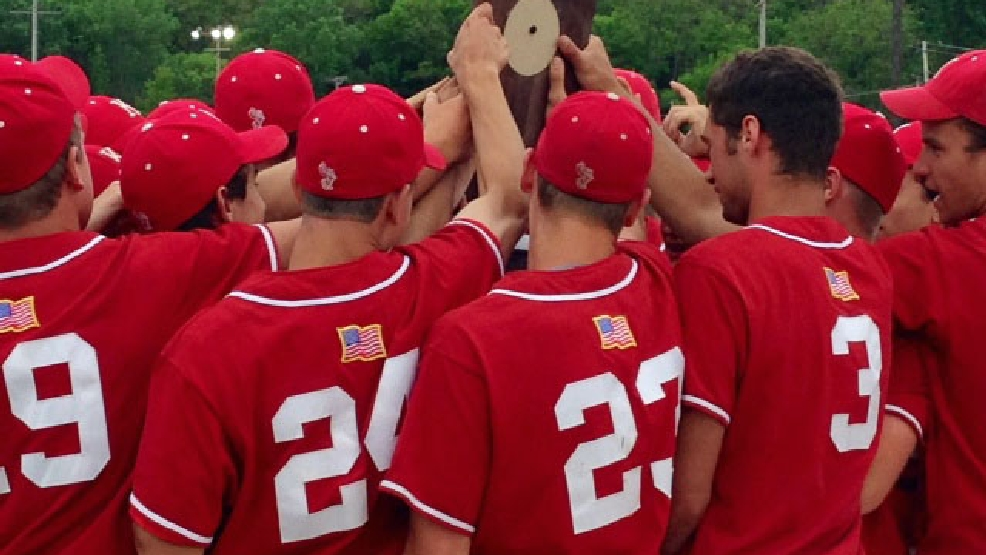 The Kimberly baseball team celebrates its Division 1 sectional title Tuesday. (Doug Ritchay/WLUK)