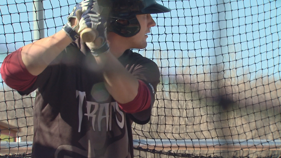 Timber Rattlers catcher Clint Coulter takes a swing during batting practice.