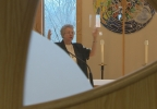 Nuns show specially commissioned art and explain the stories behind it.
