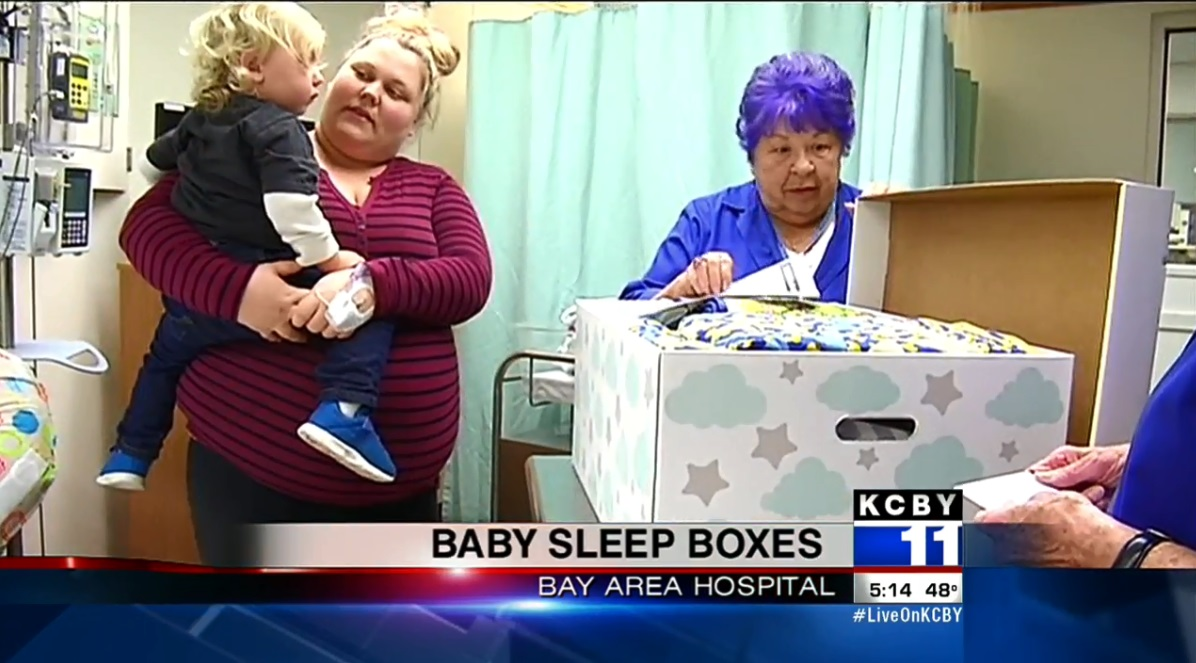 Baby boxes are infant-sized boxes with small mattresses inside where the baby can sleep. (KCBY image)