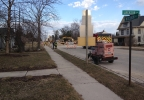 Emergency responders on the scene of a gas main break in New Holstein, Wednesday, April 9, 2014. (WLUK/Chad Doran)