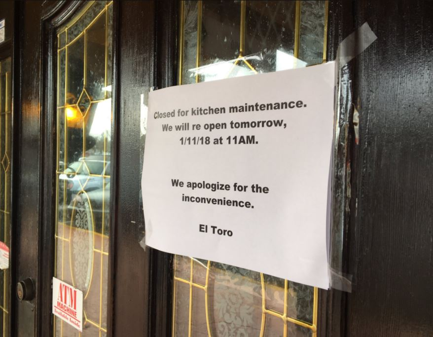 "A sign on the door of El Toro restaurant in University Place says ""closed for kitchen maintenance"" after health department investigation involving suspected norovirus outbreak. (Photo: KOMO News)"