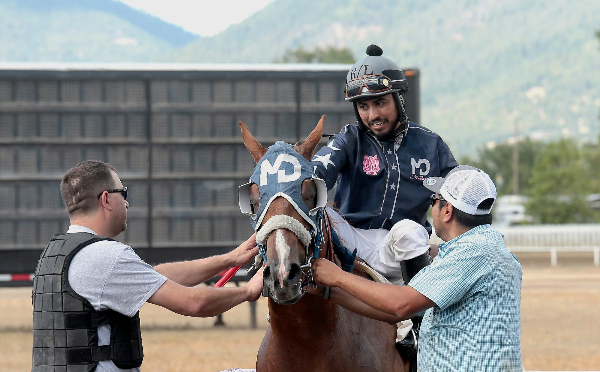 Harem Bar Cartel, with jockey Ruben Lozano finished Sunday's Firecracker Futurity Trial with the fastest qualifying time at Grants Pass Downs on Sunday. [PHOTO BY:  LARRY STAUTH JR]