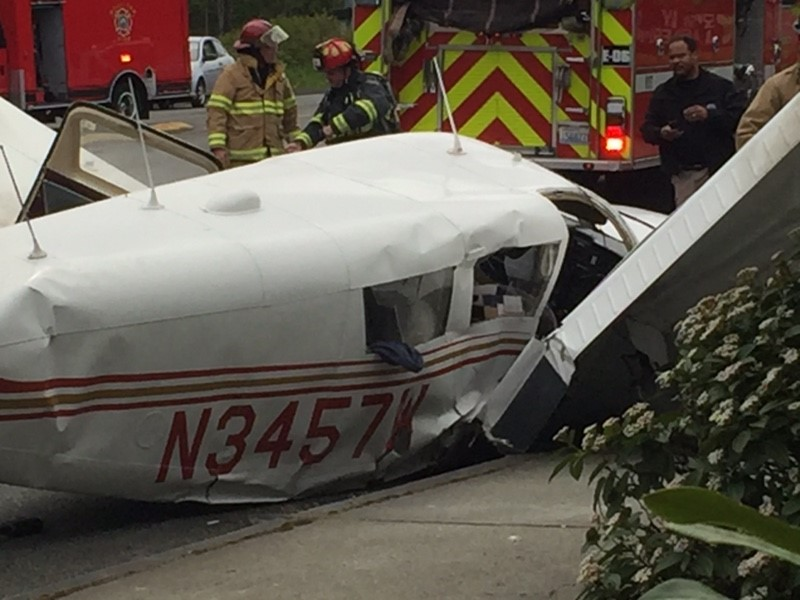 A small plane crashed near Paine Field on Tuesday afternoon (Photo courtesy of Rhonda Frans)