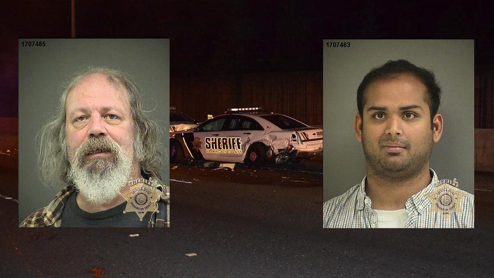 Booking photos for Earl Smith (left) and Yash Desai (right) alongside a crash scene photo.jpg
