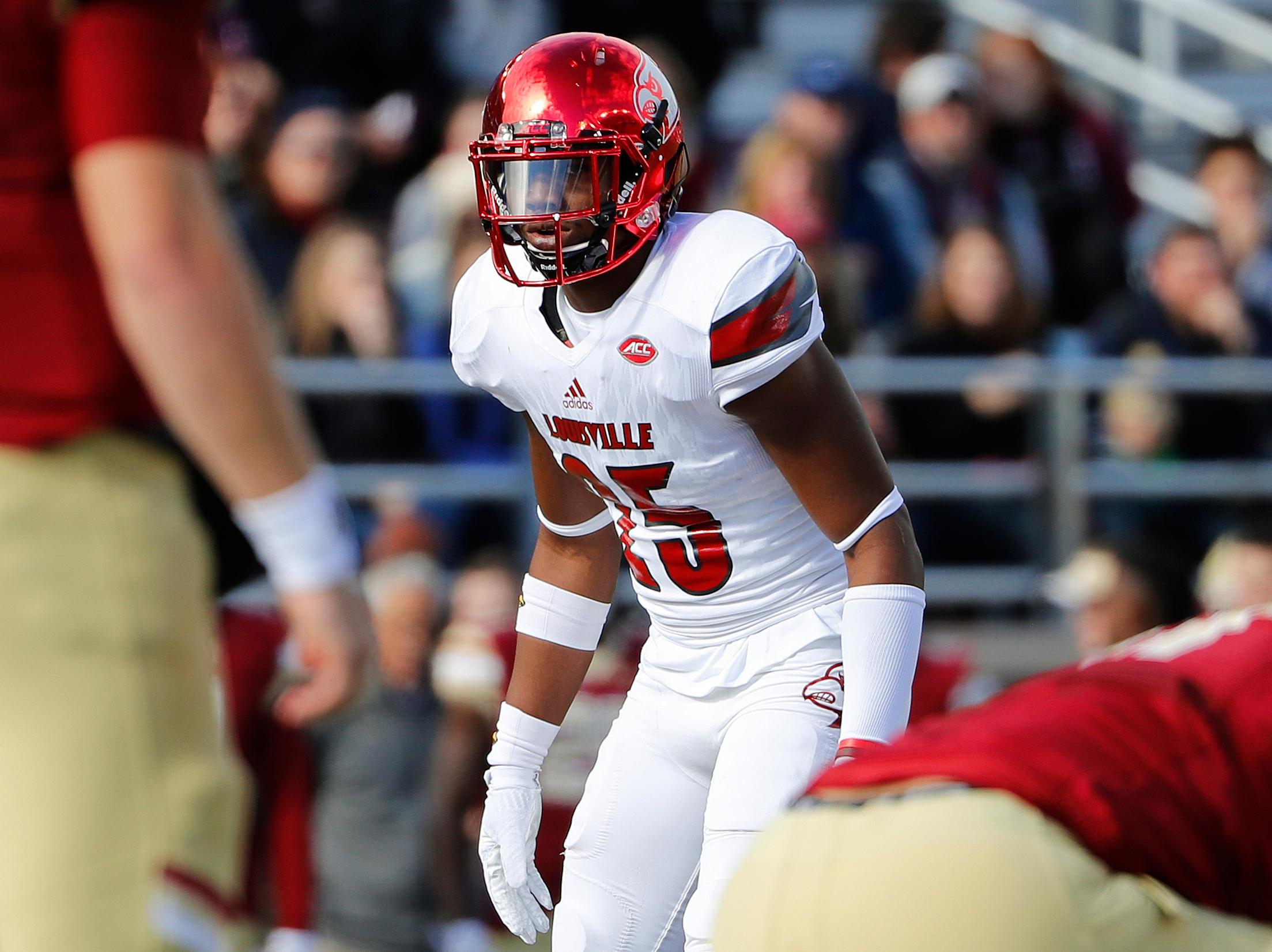 Louisville safety Josh Harvey-Clemons was selected by the Redskins in the seventh round. Harvey-Clemons is pictured during the first half of an NCAA football game against the Boston College at Alumni Stadium in Boston, Mass. Saturday, Nov. 5, 2016. (AP File Photo/Winslow Townson)