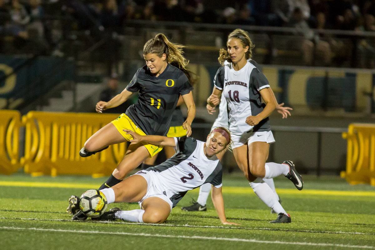 The Oregon Ducks soccer team beat the Montana Grizzlies 1-0 Friday night. The only goal of the night came from Oregon's Jessica Yu in the 4th minute of the game, her first career goal. Friday's win brings Oregon's record to 5-2 for the season. Photos by Dillon Vibes