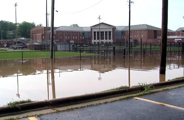 A freak storm caused flash flooding at Oxford High School on Wednesday, April 17, 2013.