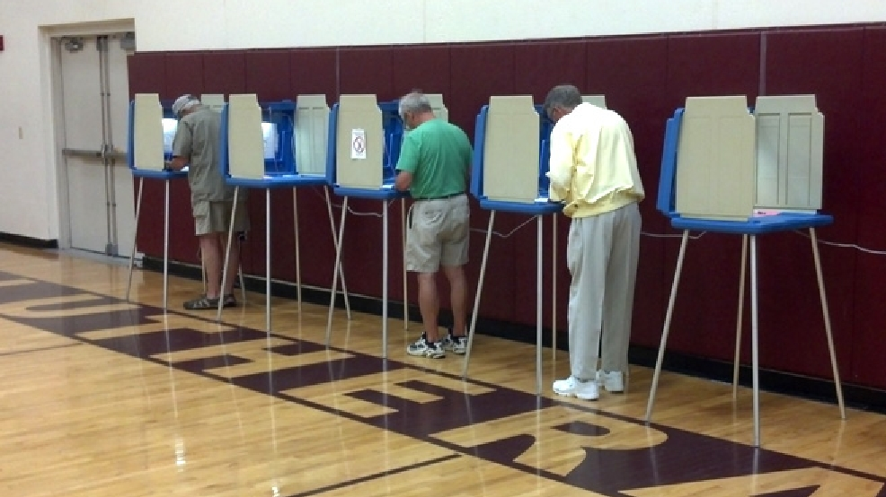 Voters cast their ballots at Fox Valley Lutheran High School in Appleton, Aug. 12, 2014. (WLUK/Andrew LaCombe)