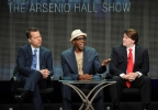 "From left, executive producer Neal Kendall, host/executive producer Arsenio Hall and executive producer John Ferriter participate in the ""The Arsenio Hall Show"" panel at the 2013 CBS Summer TCA Press Tour at the Beverly Hilton Hotel on Monday, July 29, 2013 in Beverly Hills, Calif. (Photo by Frank Micelotta/Invision/AP)"