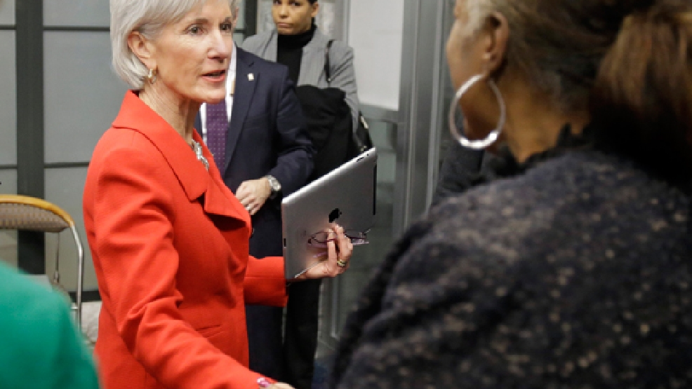 FILE - In this Feb. 3, 2014 file photo, Health and Human Services Secretary Kathleen Sebelius greets visitors after a news conference on enrollment in affordable health coverage in Cleveland. (AP Photo/Mark Duncan, File)