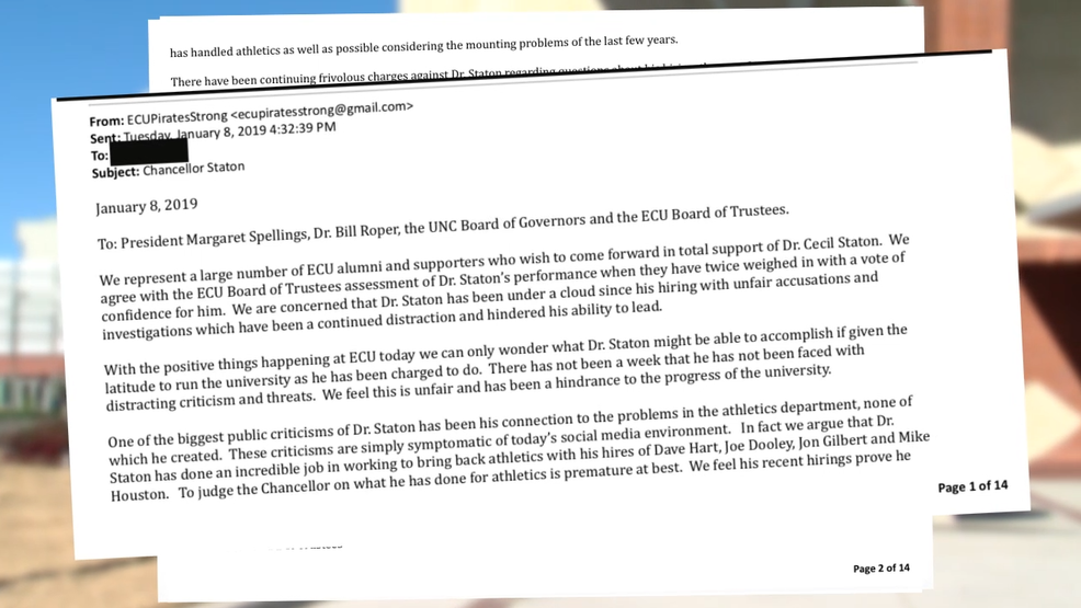 letter supporting ecu chancellor creating strong reactions on both sides wcti