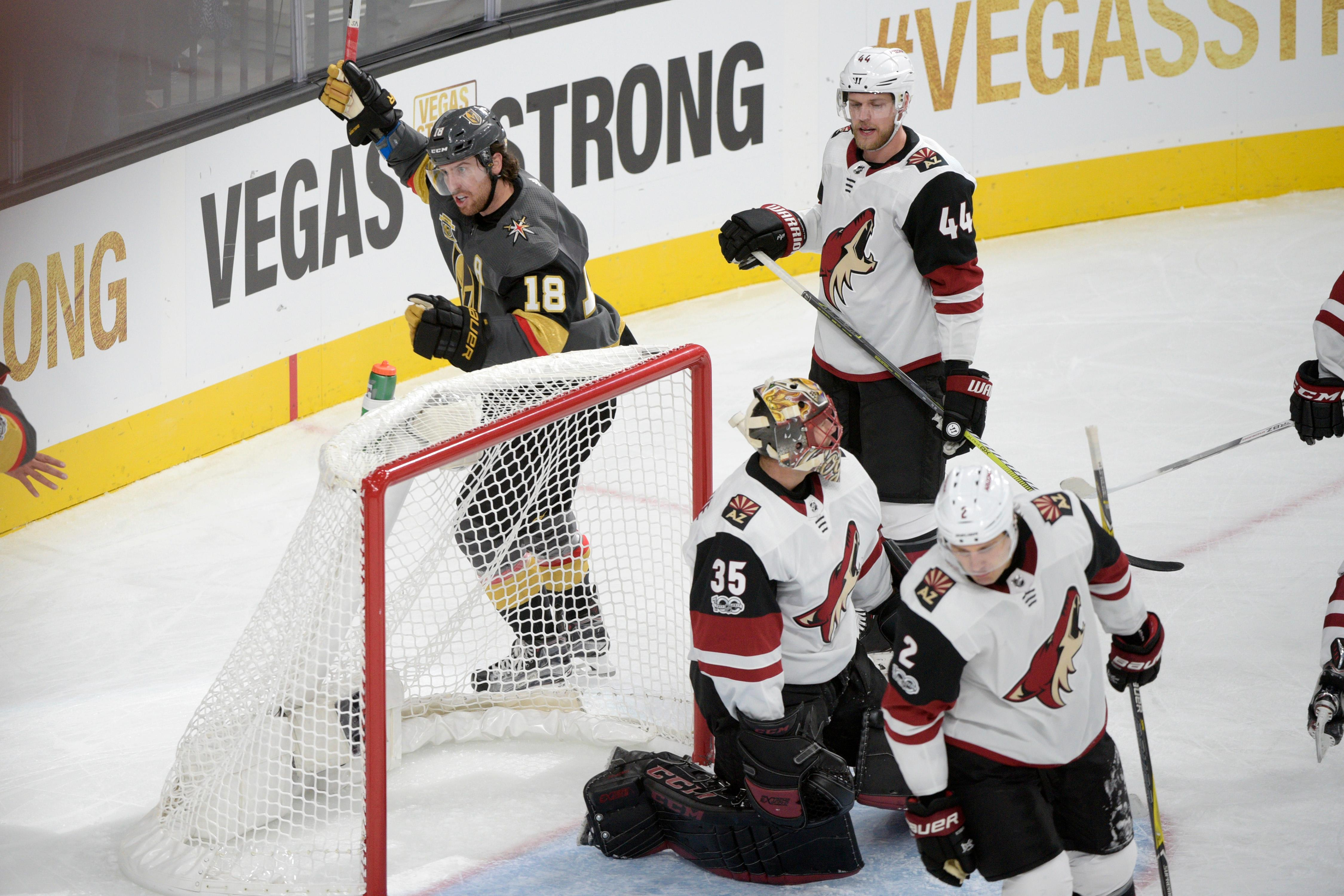 Vegas Golden Knights right wing James Neal (18) celebrates his gaol against the Arizona Coyotes during the Knights home opener Tuesday, Oct. 10, 2017, at the T-Mobile Arena. The Knights won 5-2 to extend their winning streak to 3-0. CREDIT: Sam Morris/Las Vegas News Bureau