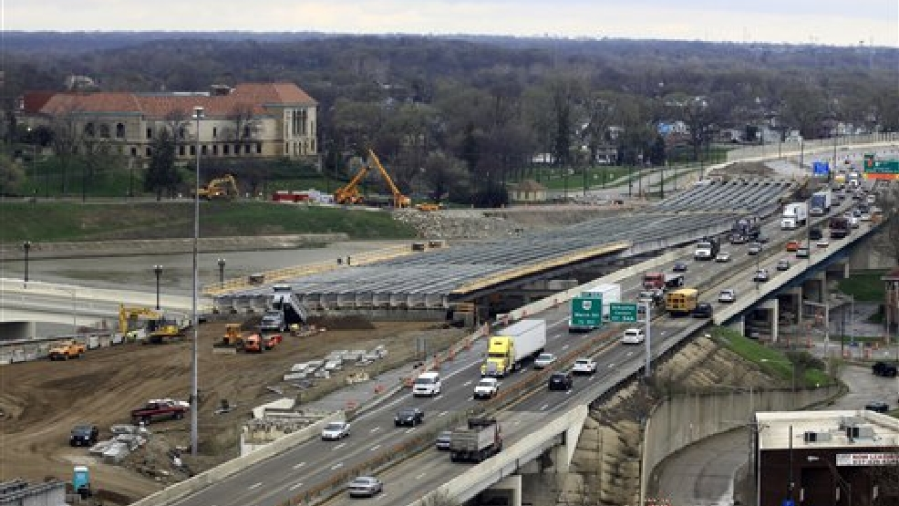 This April 14, 2014 file photo shows a section of the I-75 Phase II modernization project under way in Dayton, Ohio. The Senate is set to take up legislation to keep federal highway money flowing to states, with just three days left before the government plans to start slowing down payments. The House passed a $10.8 billion bill last week that would pay for highway and transit aid through the end of May 2015 if transportation spending is maintained at current levels. Under a schedule outlined by Senate Majority Leader Harry Reid of Nev., the Senate would take up that bill Tuesday. (AP Photo/Skip Peterson, File)