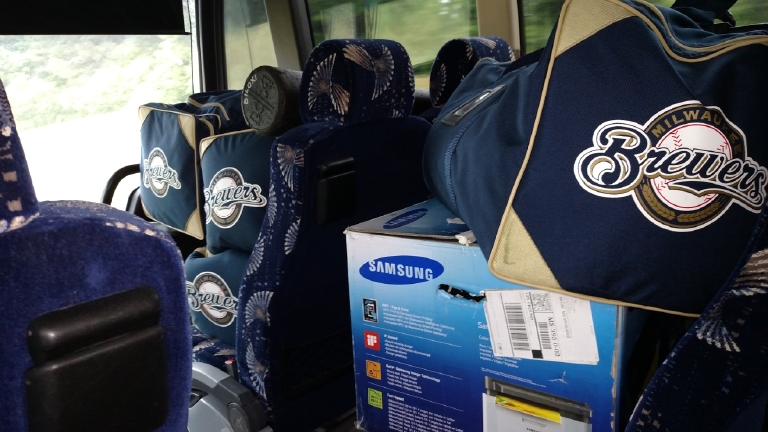 Above: Boxes of gear fill the bus of the Biloxi Shuckers, soon to end a 55-game road trip. (Photo courtesy the Biloxi Shuckers)