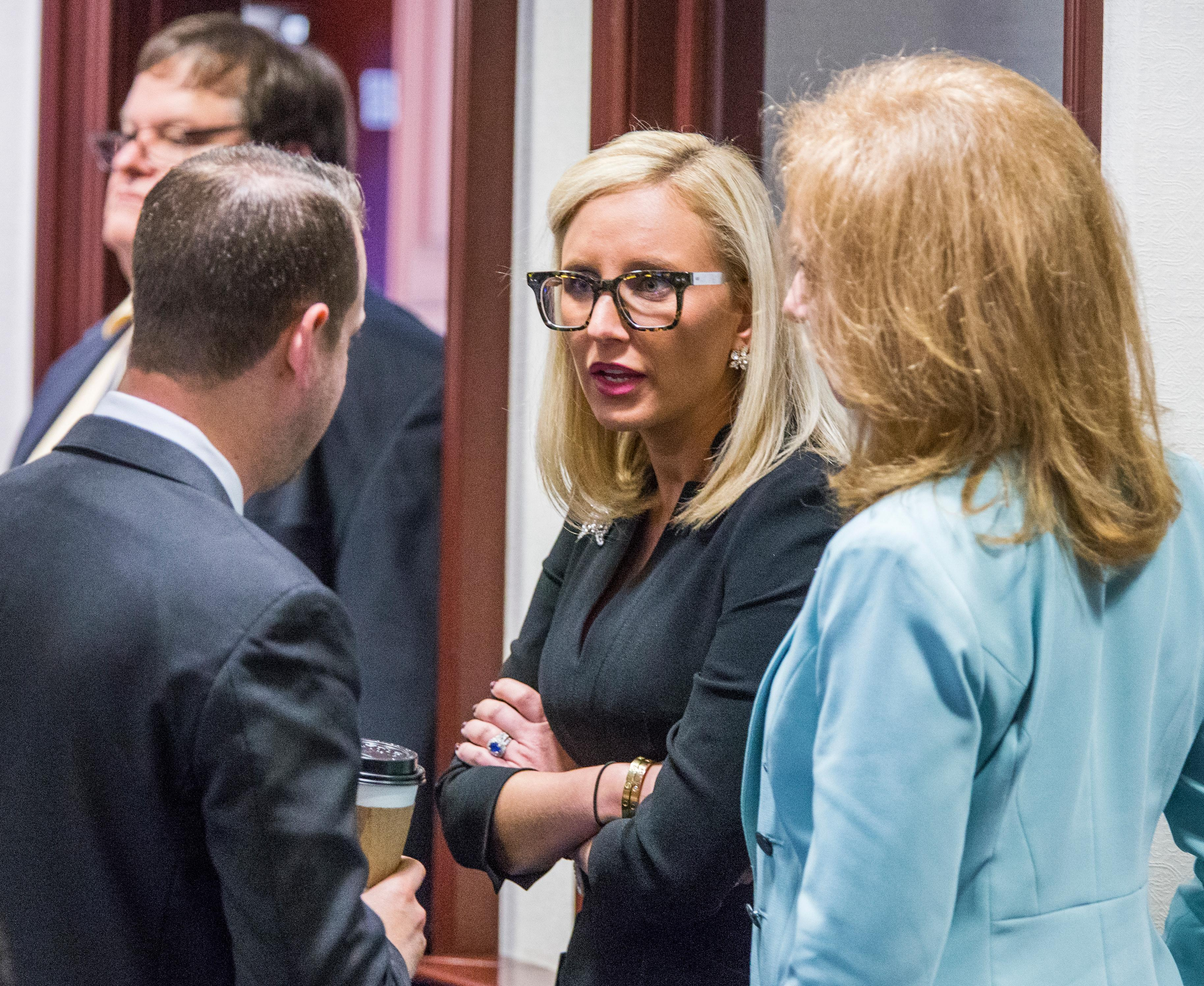 Florida Sen. Lauren Book (D-Plantation), center, speaks with Rep. Jared Even Moskowitz (D-Coral Springs), left, and Rep. Kristin Diane Jacobs (D-Coconut Creek) on the House floor during questioning on the school safety bill at the Florida Capital in Tallahassee, Fla., Tuesday March 6, 2018. (AP Photo/Mark Wallheiser)