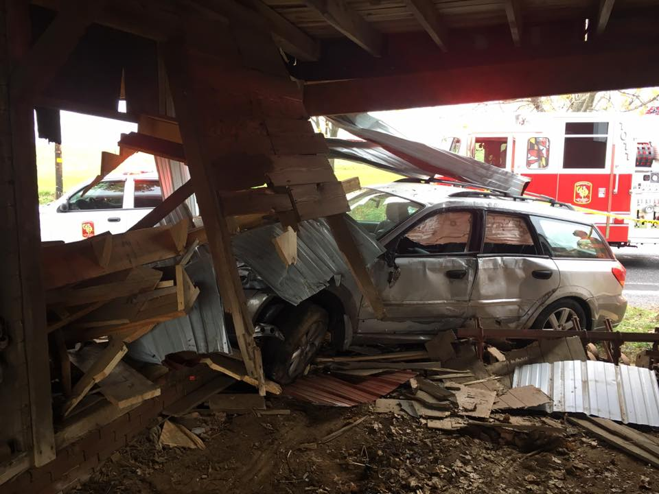 1 hurt after car crashes through barn in northern Harford Co.