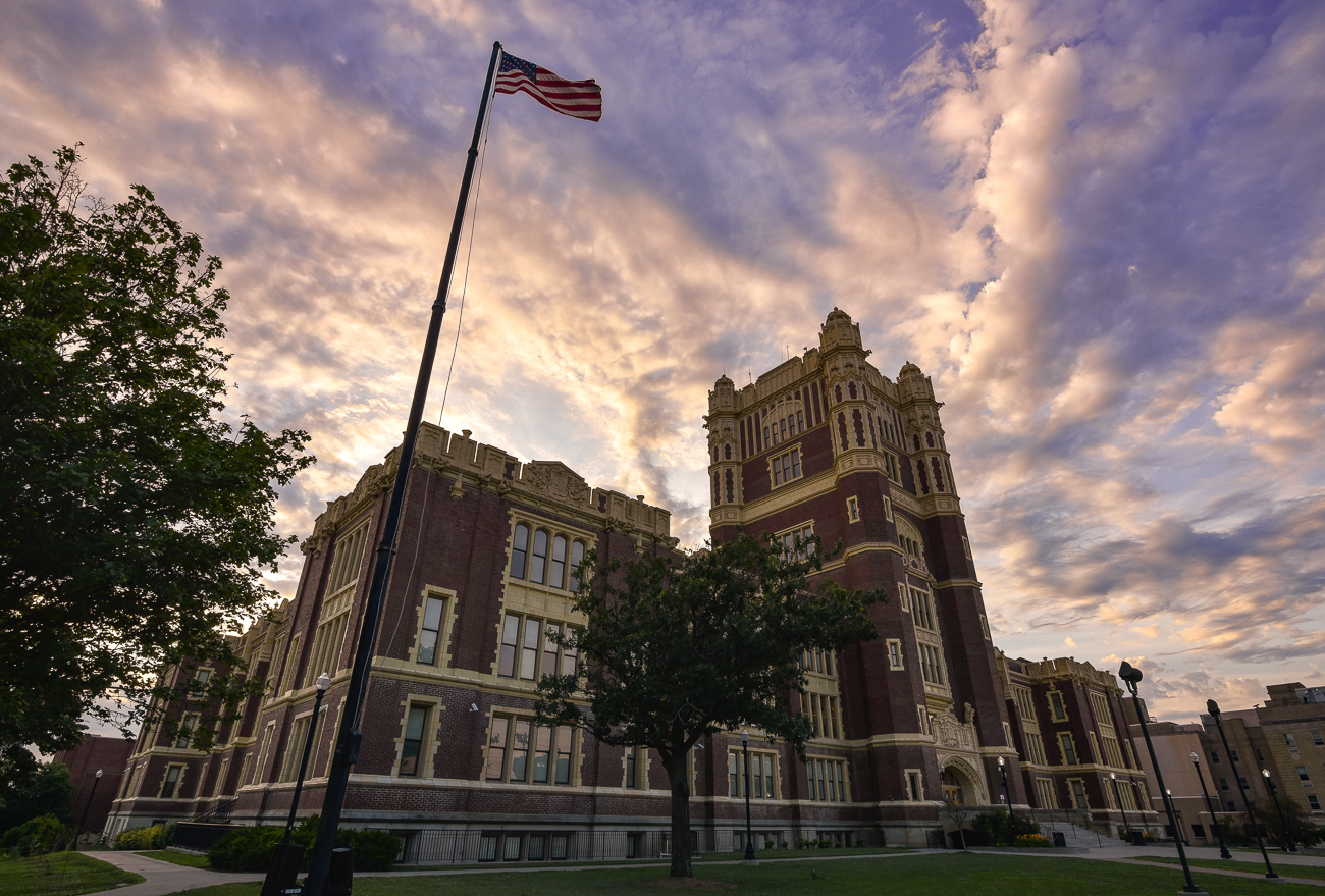 Hughes STEM High School at dusk / Image: Phil Armstrong, Cincinnati Refined // Published: 4.28.19