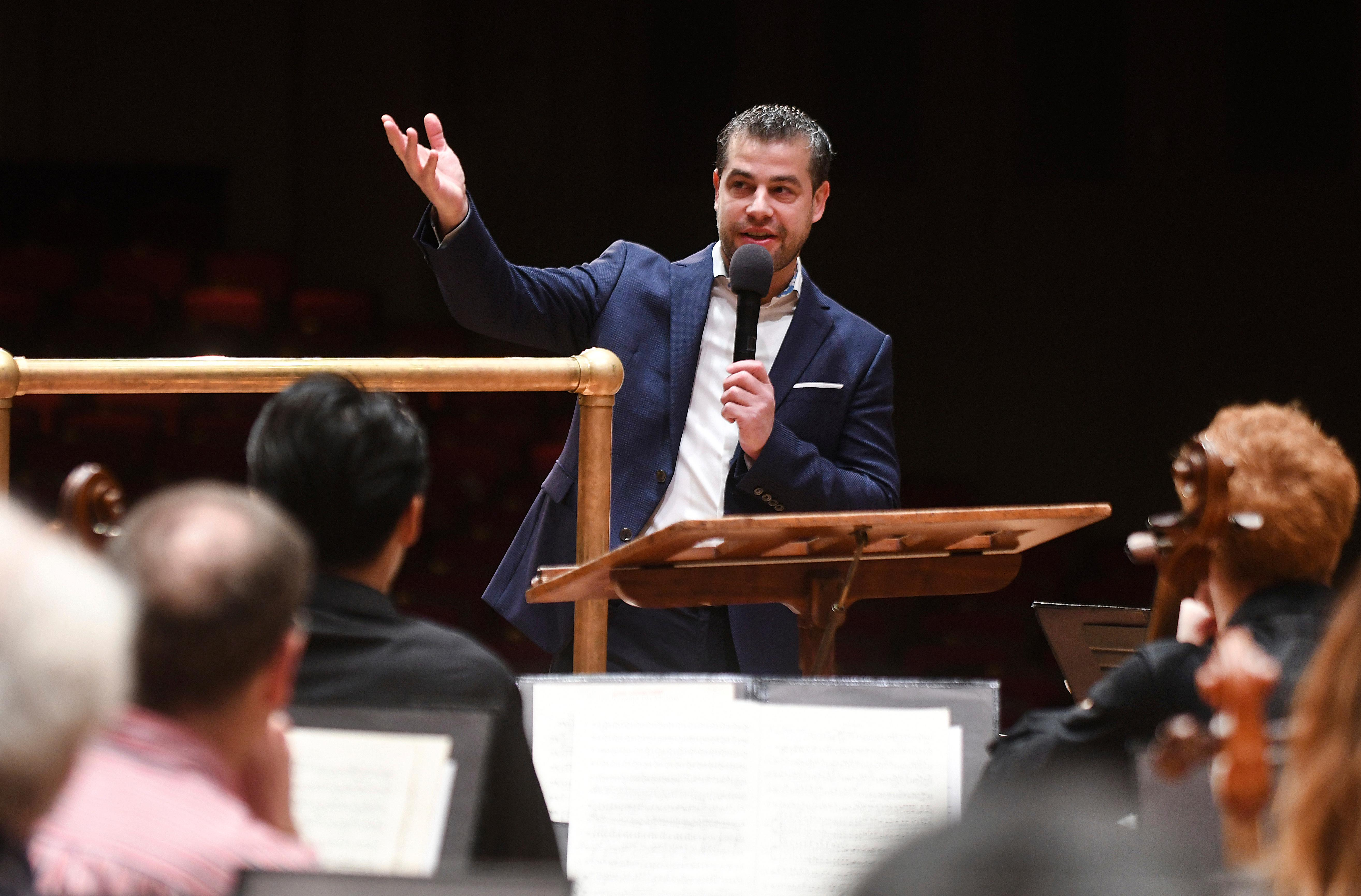 Italian conductor Jader Bignamini addresses members of The Detroit Symphony Orchestra after the announcement of being named the new music director, succeeding Leonard Slatkin during a ceremony held at the Max M. Fisher Music Center in Detroit, on Wednesday, Jan. 22, 2020.{ } (Max Ortiz/Detroit News via AP)