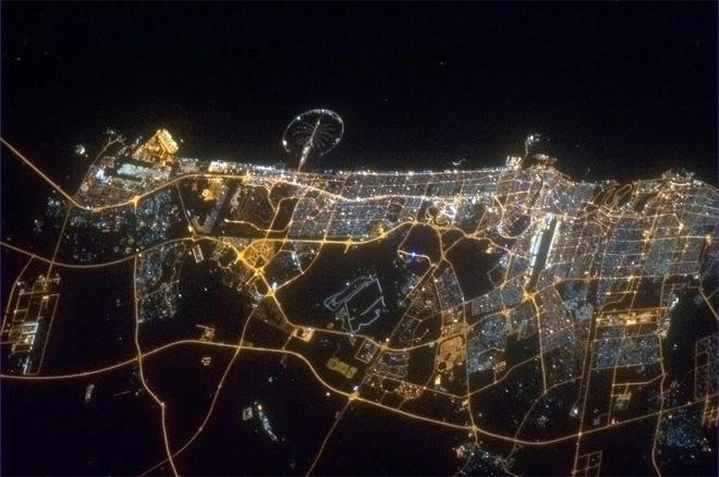Dubai, the Palm Island like a trilobite in the night. (Photo & Caption: Col. Chris Hadfield, NASA)