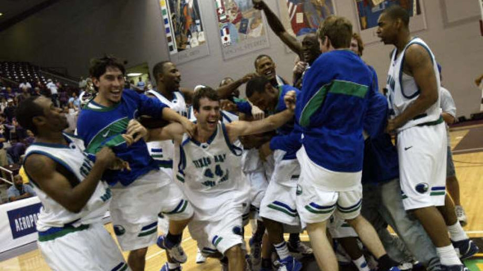 Texas A&M-Corpus Christi celebrates an 81-78 victory against Northwestern State in the 2007 Southland Conference Tournament championship. The Islanders clinched their first NCAA Tournament berth. (Courtesy Texas A&M University-Corpus Christi Archives