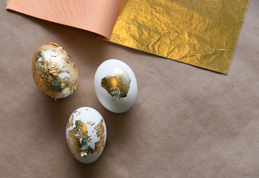 Gold leaf foil can be used to create golden luxury eggs. (Image: Rebecca Mongrain/Seattle Refined)
