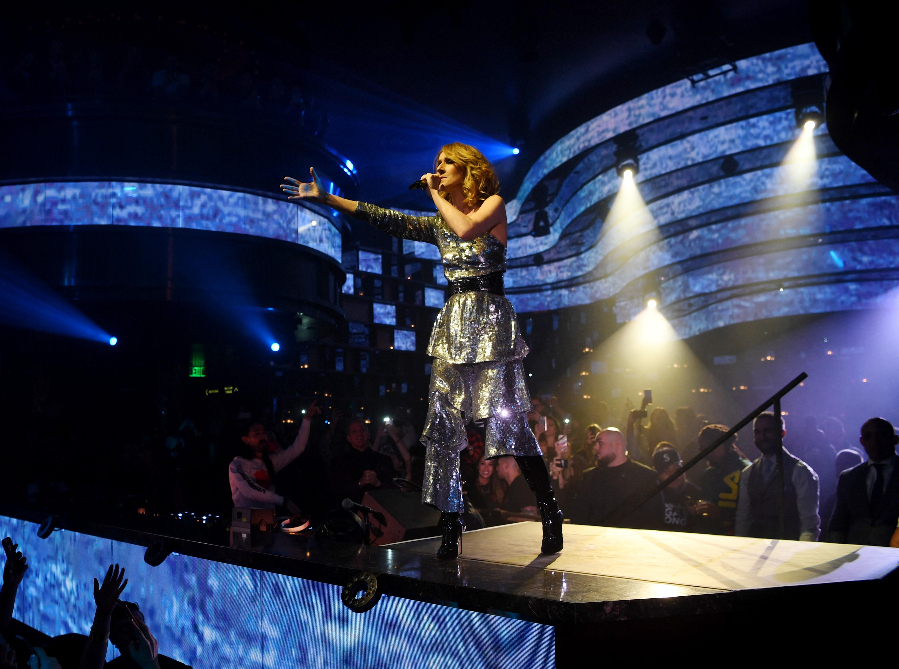 Celine Dion performs during Hakkasan Group's benefit concert Tuesday, Nov. 7, 2017, at OMNIA Nightclub inside Caesars Palace. (Photo By Denise Truscello)