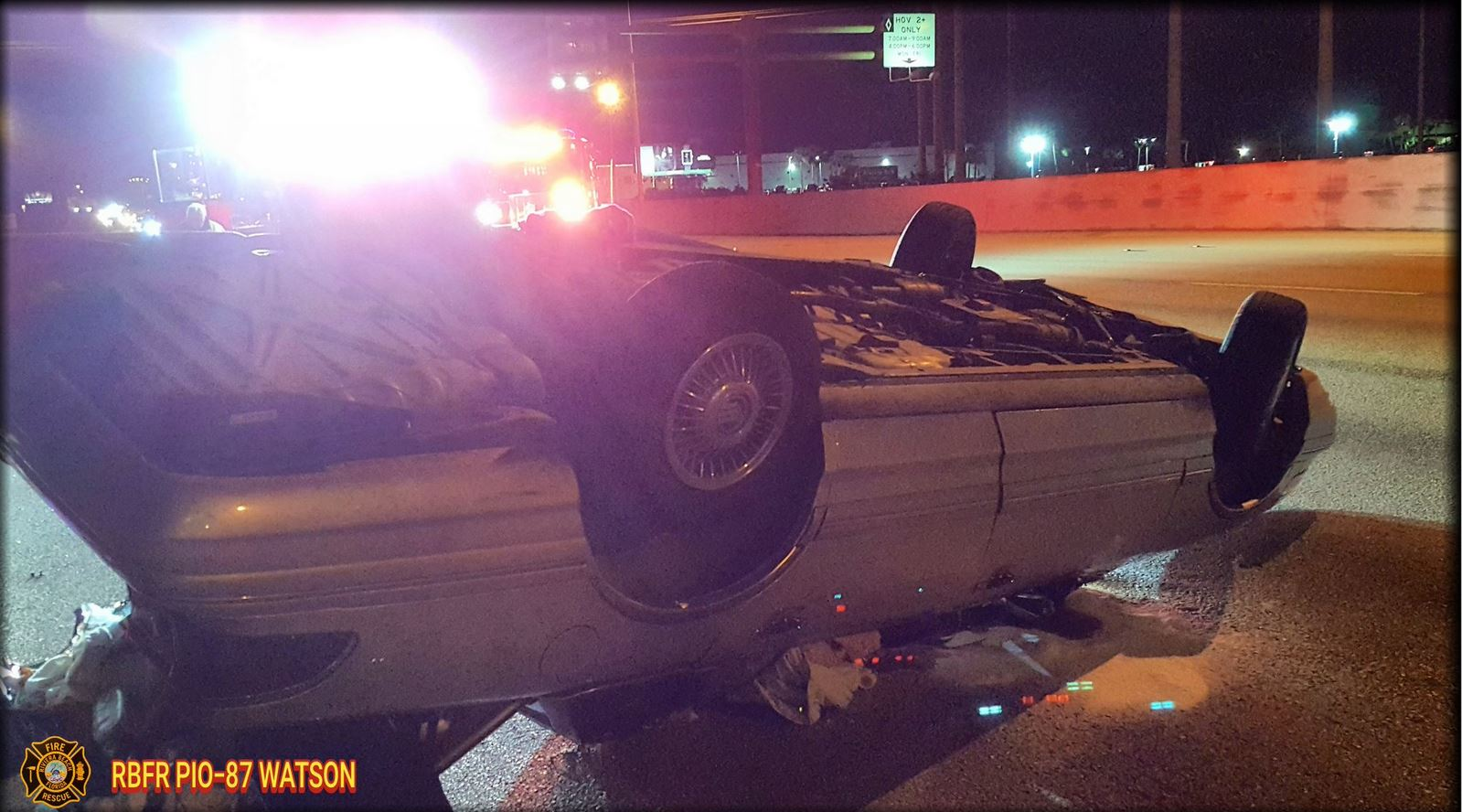 Rollover crash on I-95 sends 1 person to the hospital. (RBFR)