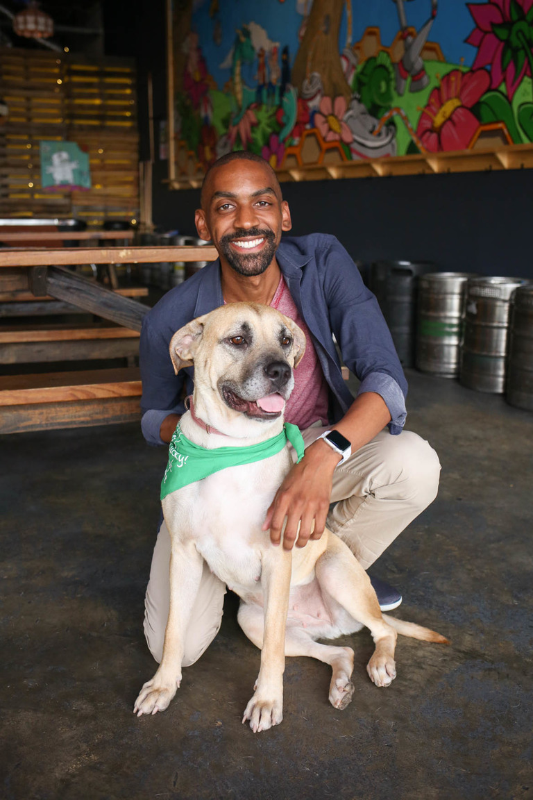 Meet Mellie and William, a 1-year-old , Shepherd/American Staffordshire Terrier mix and a 34-year-old human respectively. Photo location: Midlands Beer Garden (Image: Amanda Andrade-Rhoades/ DC Refined)