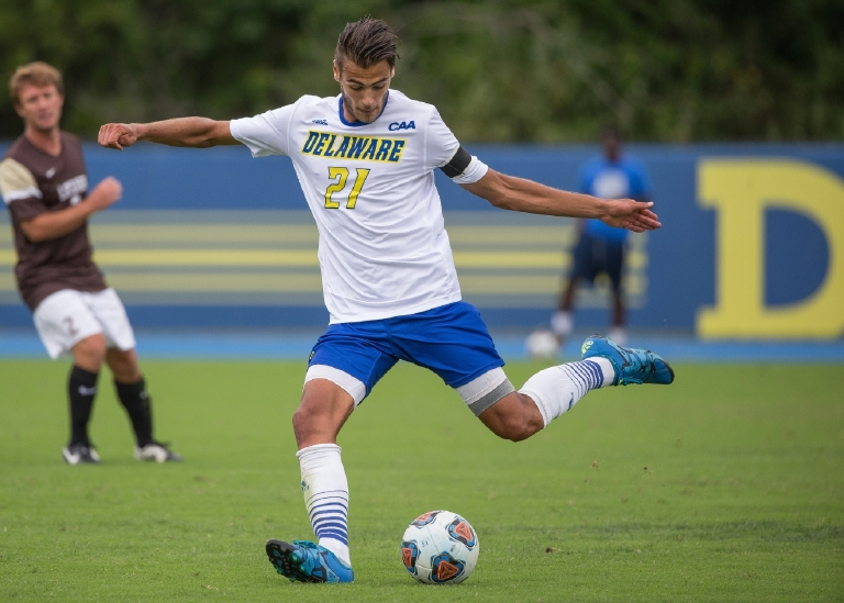 Thibault Philippe was playing in the CAA semifinals when the horrific terrorist attacks were unfolding in Paris, his home. (Courtesy Mark Campbell/University of Delaware Athletics)