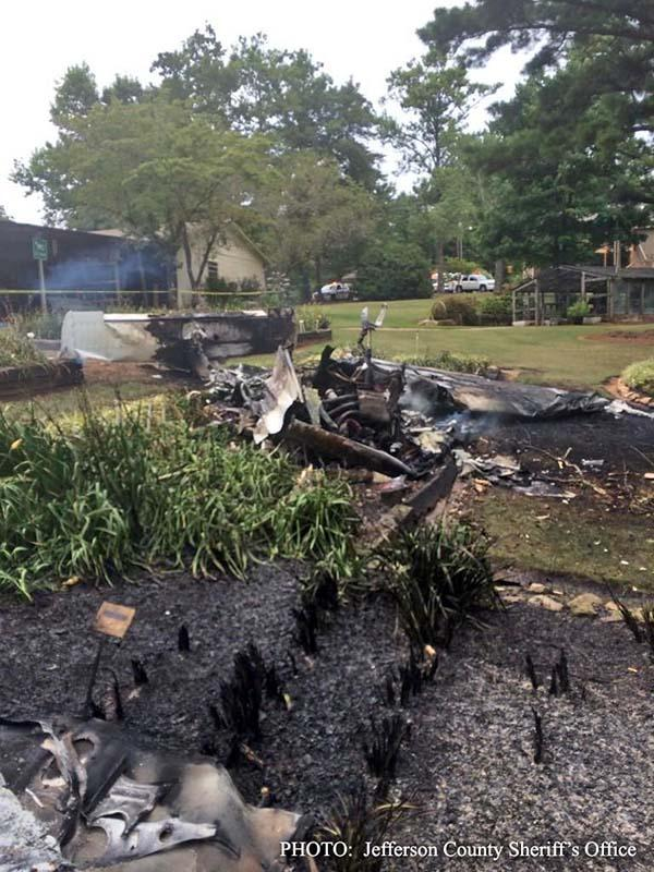 Scene of small plane crash in Helena, Alabama, Thursday, July 31, 2014.