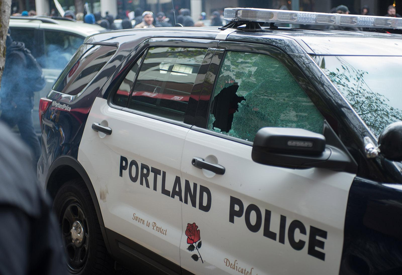 Damage from May Day protest in Portland - KATU image by Tristan Fortsch