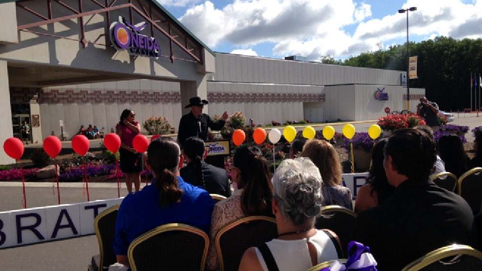 The Oneida Tribe holds a ceremony commemorating the 20th anniversary of its casino in Ashwaubenon, July 9, 2014. (WLUK/Todd Berry)