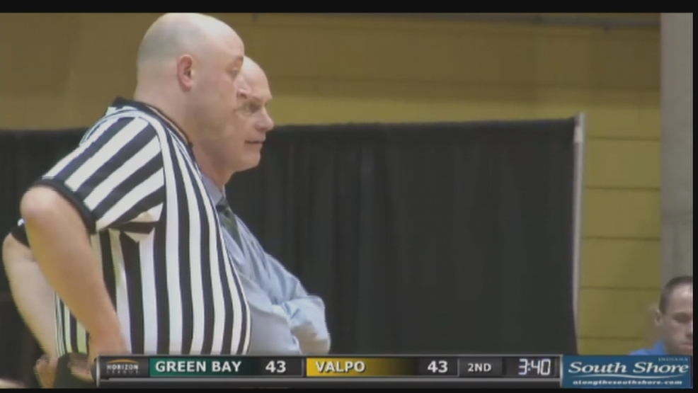 Kevin Borseth talks to a referee during Green Bay's game against Valparaiso.