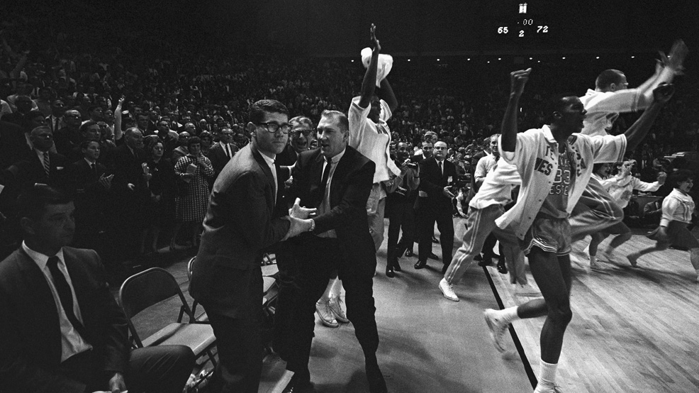 Texas Western celebrates its 72-65 victory against Kentucky on March 19, 1966, in College Park, Md., to win the NCAA men's basketball championship.
