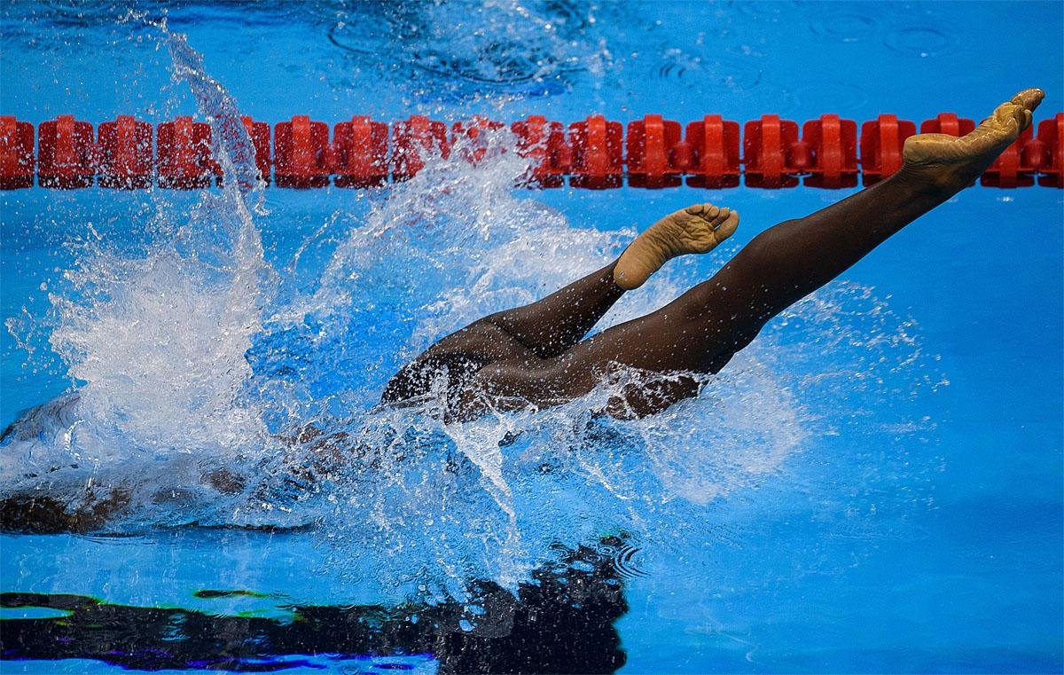 In this photo provided by the IOC, Trinidad and Tobago's Shanntol Ince competes in heat 1 of the women's 400-meter freestyle - S9 swimming event at the Olympic Aquatics Stadium during the Paralympic Games, in Rio de Janeiro, Brazil, Friday, Sept. 9, 2016. (Bob Martin/OIS,IOC via AP)