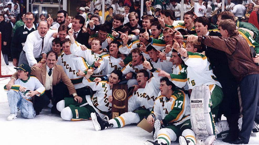 Northern Michigan celebrates its 8-7 triple-overtime victory against Boston University on March 13, 1991, to win the school's first and only NCAA championship. (Courtesy Northern Michigan University Archives)