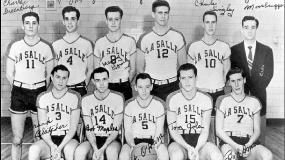 LaSalle's 1954 NCAA champions, including Frank Blatcher (3), Tom Gola (15), Bob Ames (7) and Chuck Singley (10). The team was inducted into La Salle's Hall of Athletes in 1984. (Courtesy LaSalle University Archives)