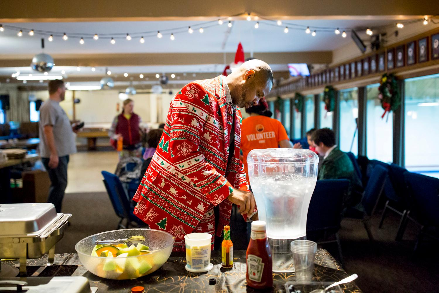 "The Granite Curling Club hosts the annual Holiday Bonspiel, or curling tournament, with hundreds of participants dressed in festive attire with games that last well into the night. This year's theme was the ""Nightmare Before Christmas."" The curling club has close to 500 members with league games every evening of the week. (Sy Bean / Seattle Refined)"