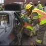 Students mock crash demonstrated the dangers of distracted driving