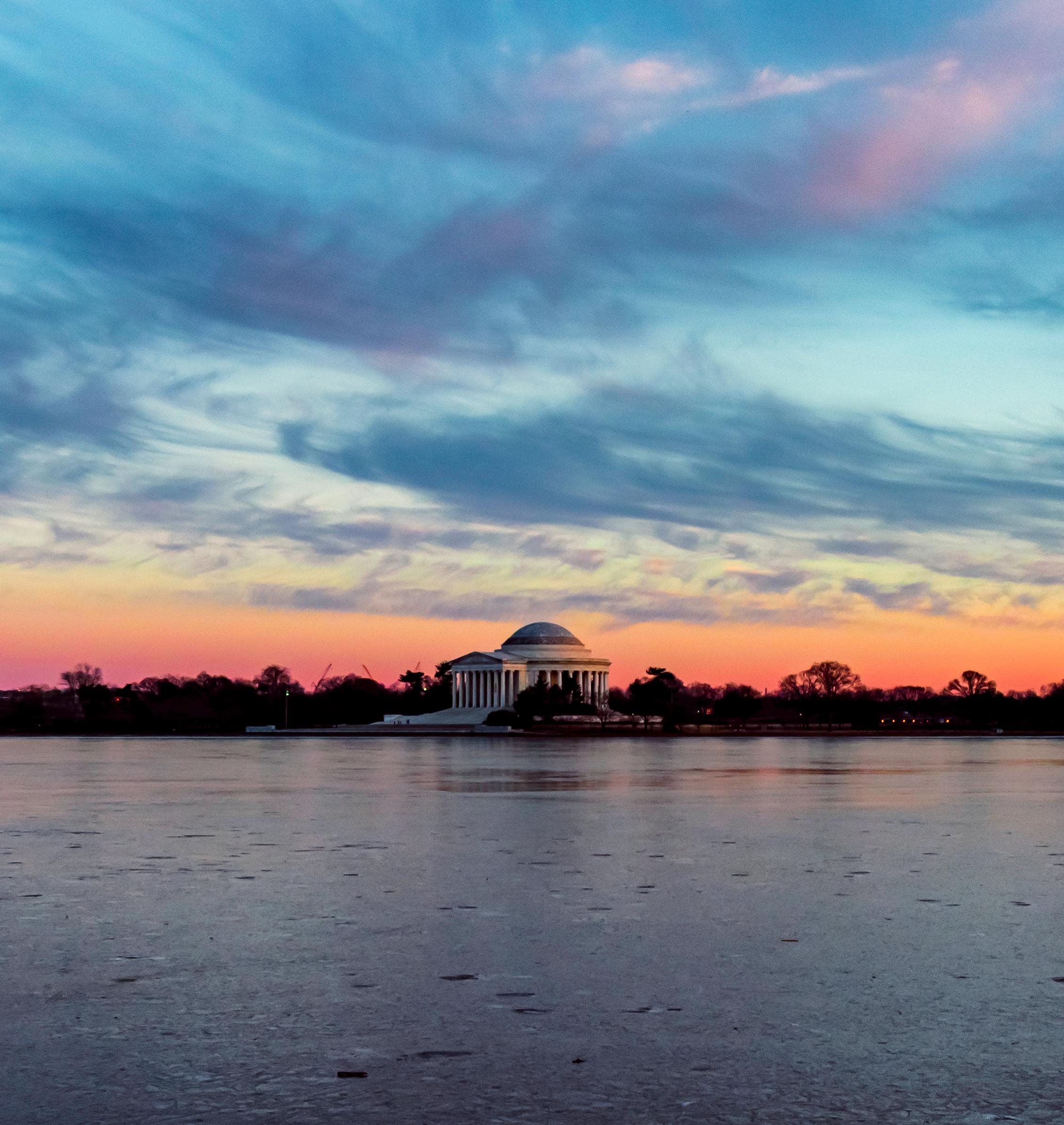 The Jefferson Memorial at sunset along a frozen Tidal Basin. Taken January, 2018. (Image: Adam Brockett)<p></p>