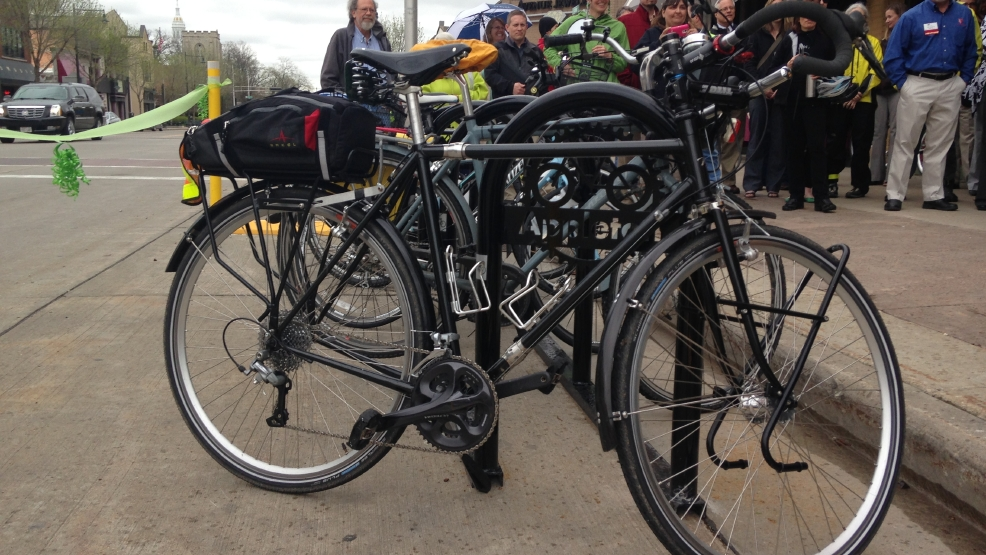 A bike corral is seen along College Ave. in Appleton, May 13, 2014. (WLUK/Chad Doran)