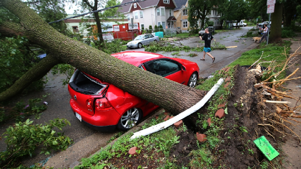 A vehicle parked along Jenifer Street is damaged by an uprooted tree after an overnight storm toppled trees and damaged properties in the neighborhood on the Near East Side of Madison, Wis. Tuesday, June 17, 2014. Officials have declared a state of emergency in Dane County in order to make storm damage recovery assistance available to residents who need it. (AP Photo/Wisconsin State Journal, John Hart)