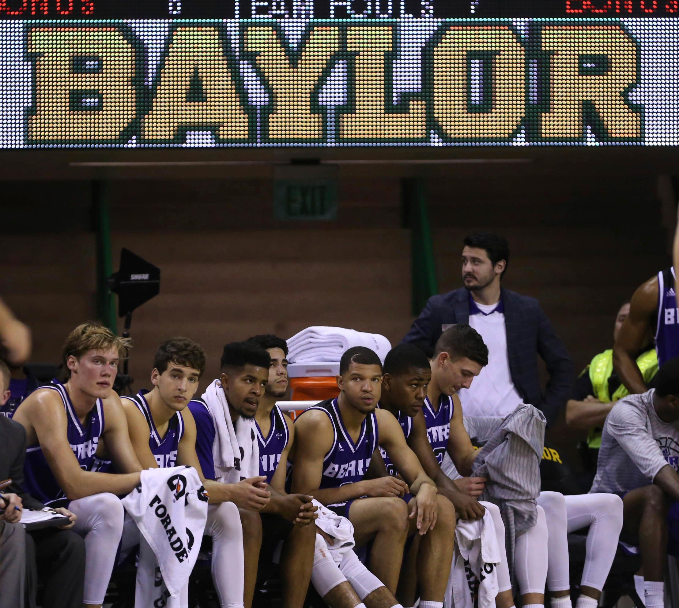 The Central Arkansas bench watch in the second half of a NCAA college basketball game against Baylor, Friday, Nov. 10, 2017, in Waco, Tx. Baylor won 107-66. (AP Photo/Jerry Larson)