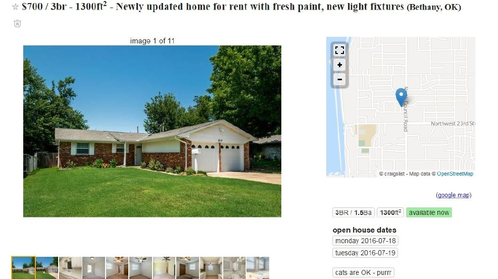 Good Oklahoma City Family Surprised To See Their Home Listed For Rent On  Craigslist